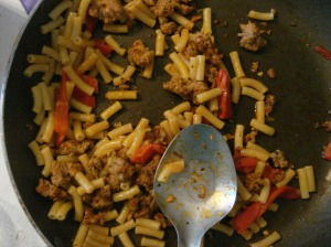 Sausage and red pepper pasta
