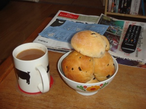Pembrokeshire buns, tea, magazines, TV remote. Happy times ahead.