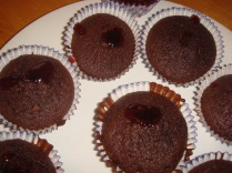 Chocolate and jam cupcakes