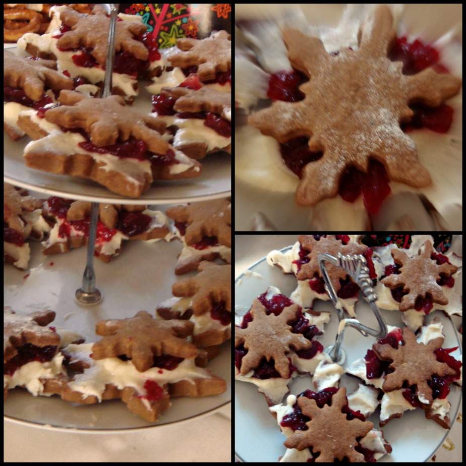 Pepparkakor, cranberry sauce and vanilla cookies