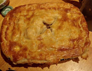 Flaky pastry lid for Irish stew pie