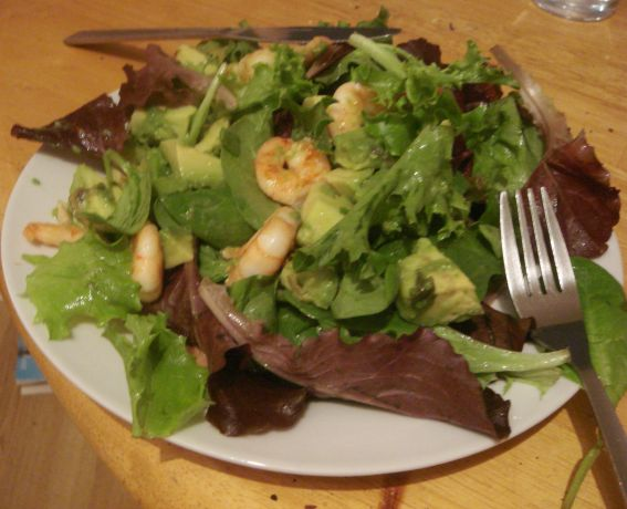 The basic, no-frills version: avocado, prawns, lemon, lots of lettuce