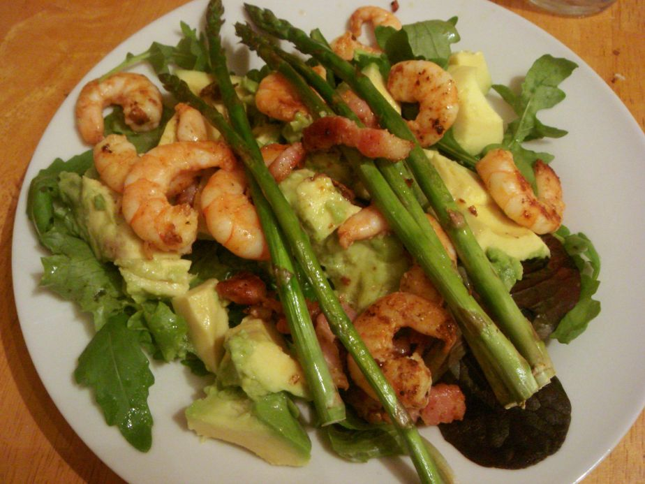 A salad anyone could get behind, packed with prawns, avocado, bacon and asparagus