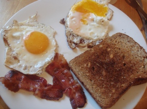 Bacon, eggs, toast - not a typical weekday meal