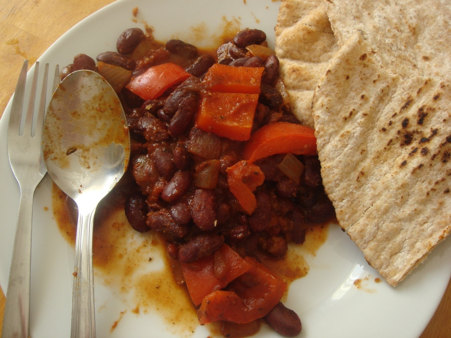 Spontaneous bean stew - I'd already started eating when I took the photo