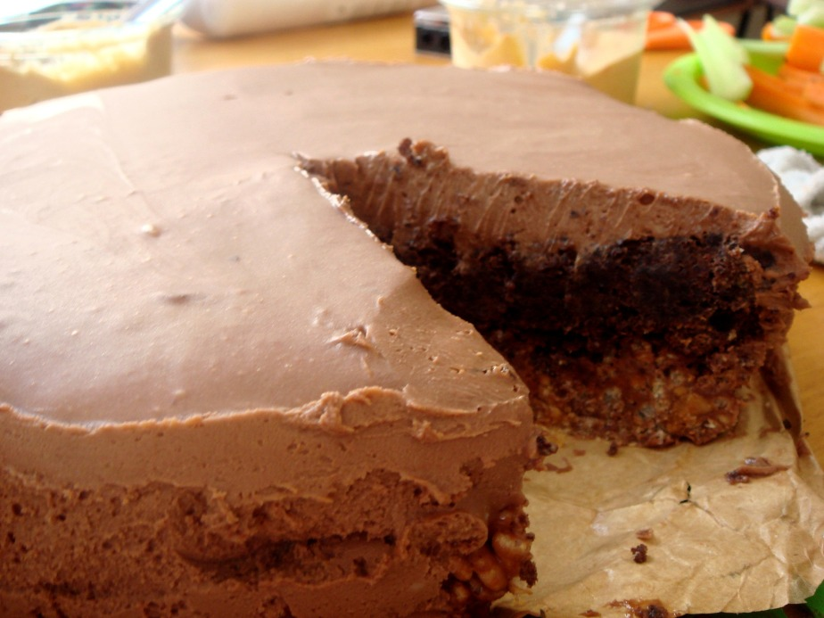 Chocolate hazelnut mousse cake with hazelnut crunch base