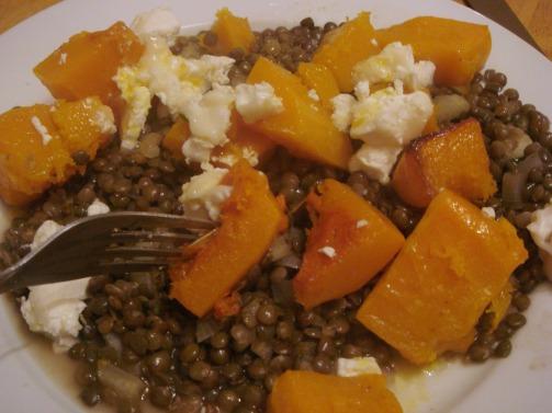 squash and lentil salad