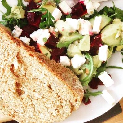 A splash of sunshine, a hit of colour: quinoa, beetroot, avocado and rocket salad