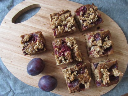 Sticky oat, plum and ginger squares