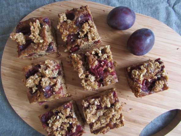 Ginger and plum traybake with crumble topping