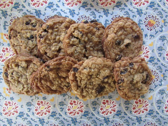 Oamteal and raisin cookies