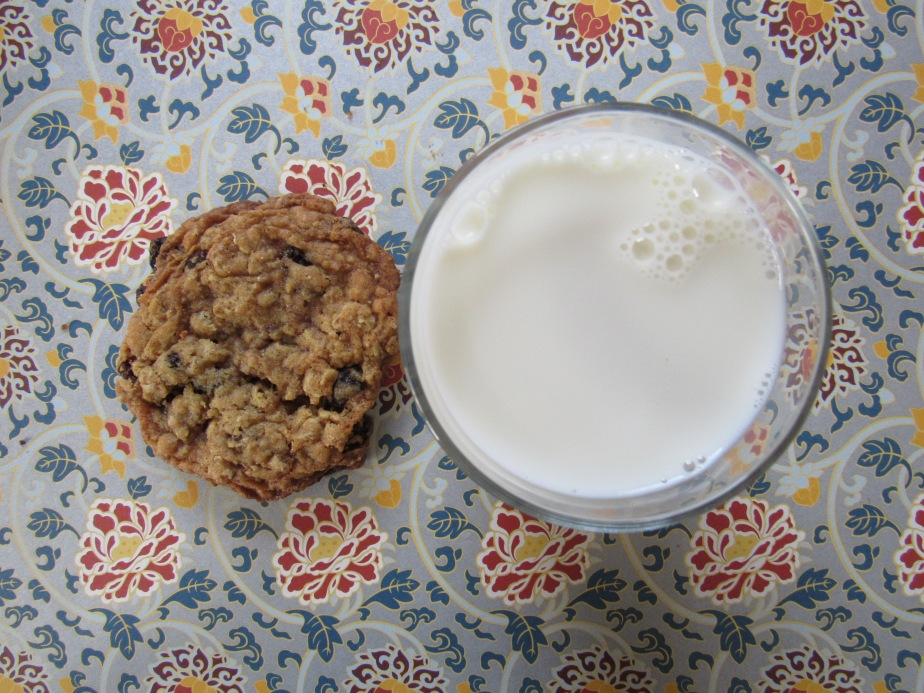 Bakery-style oatmeal raisin cookies and milk