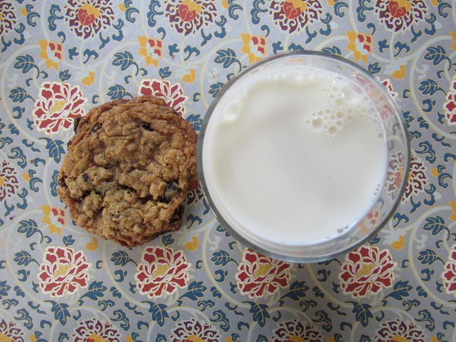 Bakery-style oatmeal raisin cookies and milk