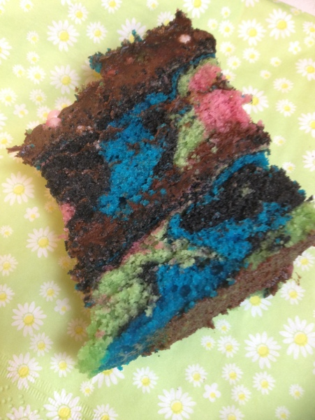 Slice of rainbow zebra cake