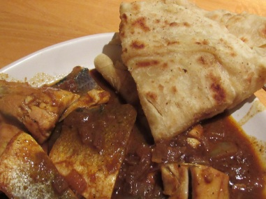 Parathas and fish curry