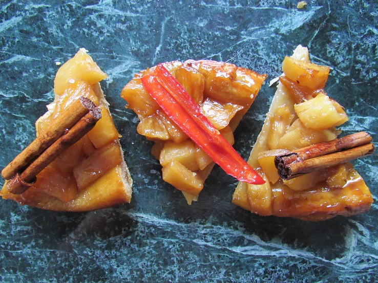 Pineapple tarte tatin slices