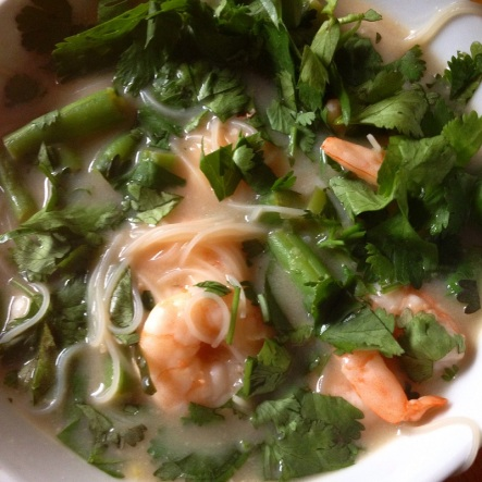 Coconut prawn soup