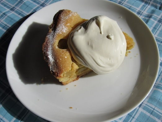 Slice of gooseberry almond tart with cream