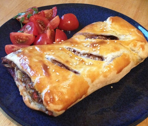 Lamb sausage roll with tkemali