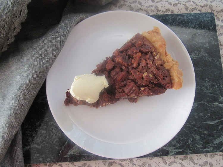 Chocolate malt pecan pie
