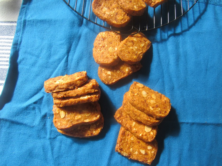 Buttery chorizo, manchego and almond crackers