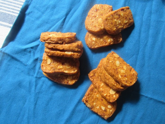 Chorizo, manchego and almond crackers